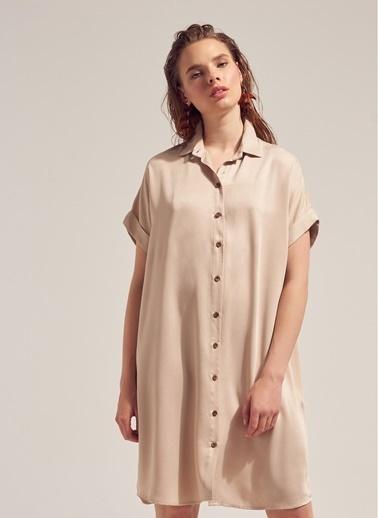 Monamoda Kısa Kol Tensel Gömlek Elbise Bej